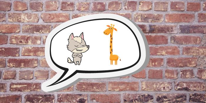Wolf und Giraffe unterhalten sich in Sprechblase